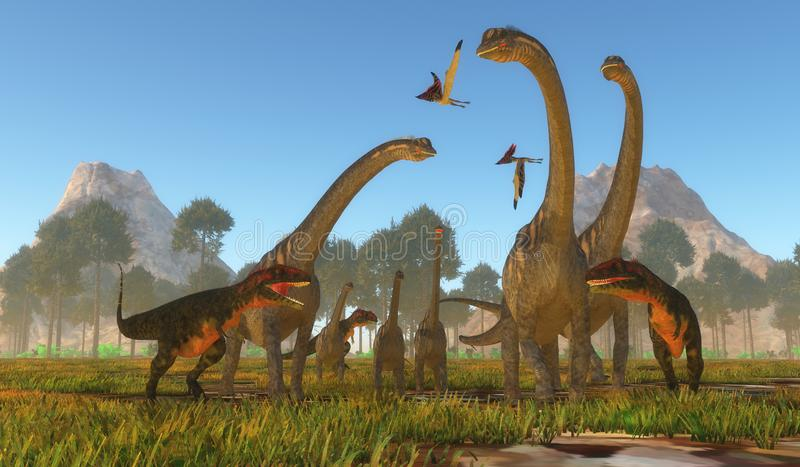 Mapusaurus Dinosaur Attack. Three predatory Mapusaurus dinosaurs surround a herd of Sauroposeidon sauropods as Thalassodromeus reptiles fly over the drama royalty free illustration