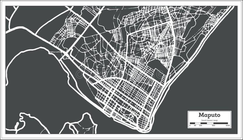 Maputo Mozambique Stadskaart in Retro Stijl Zwart-witte vectorillustratie vector illustratie