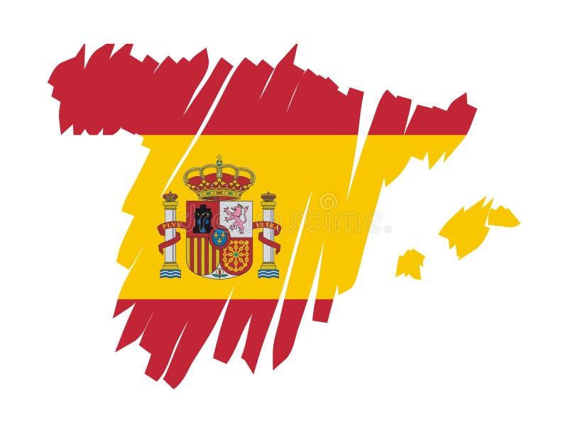 mapy bandery Hiszpanii wektora ilustracji