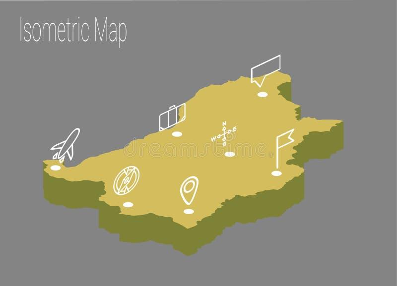 Mapy Bułgaria isometric pojęcie ilustracji