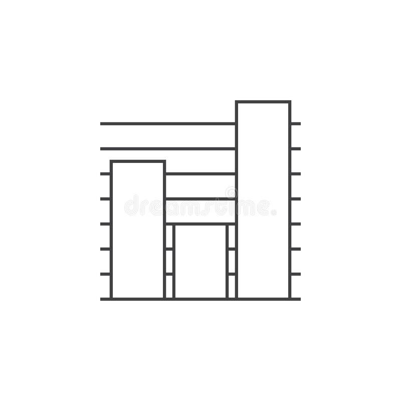 Mapy cienka kreskowa ikona, wykresu konturu loga wektorowa ilustracja, li ilustracja wektor