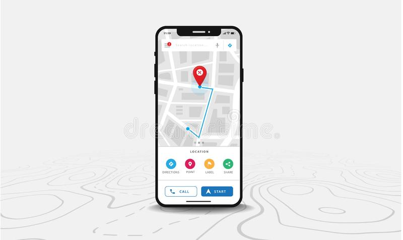 Mapy GPS nawigacja, Smartphone mapa zastosowanie, sprecyzowani na ekranie, App rewizji mapy nawigacja na kreskowych mapach, royalty ilustracja
