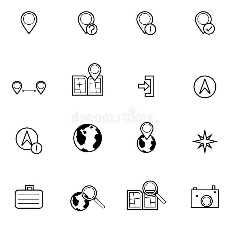 Mapy i lokaci ikona ustawiająca wektorowa ilustracja ilustracji
