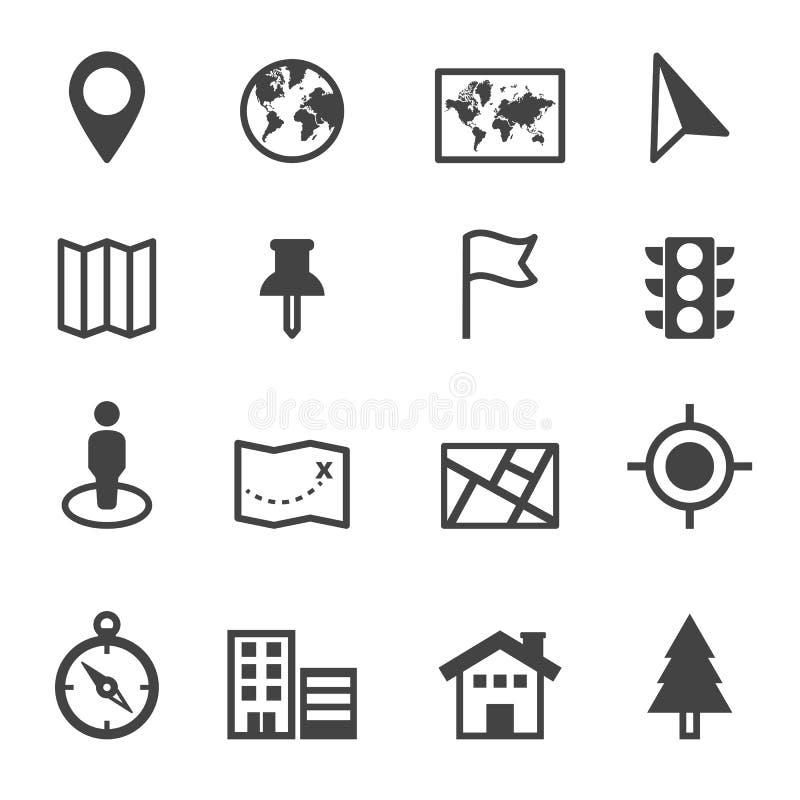 Mapy i lokaci ikony ilustracji