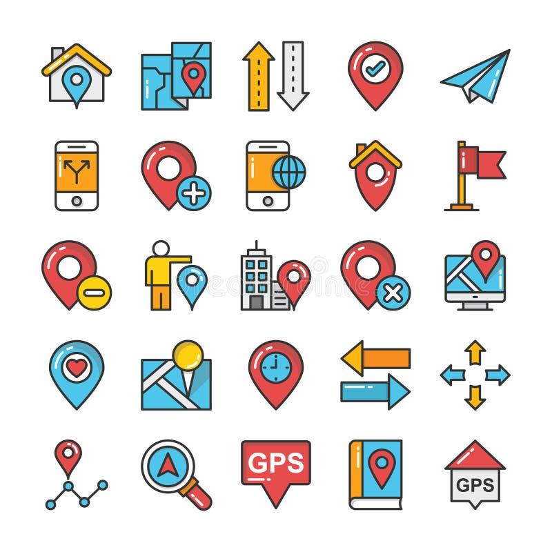 Mapy i nawigacj Barwione Wektorowe ikony Ustawiają 7 ilustracji