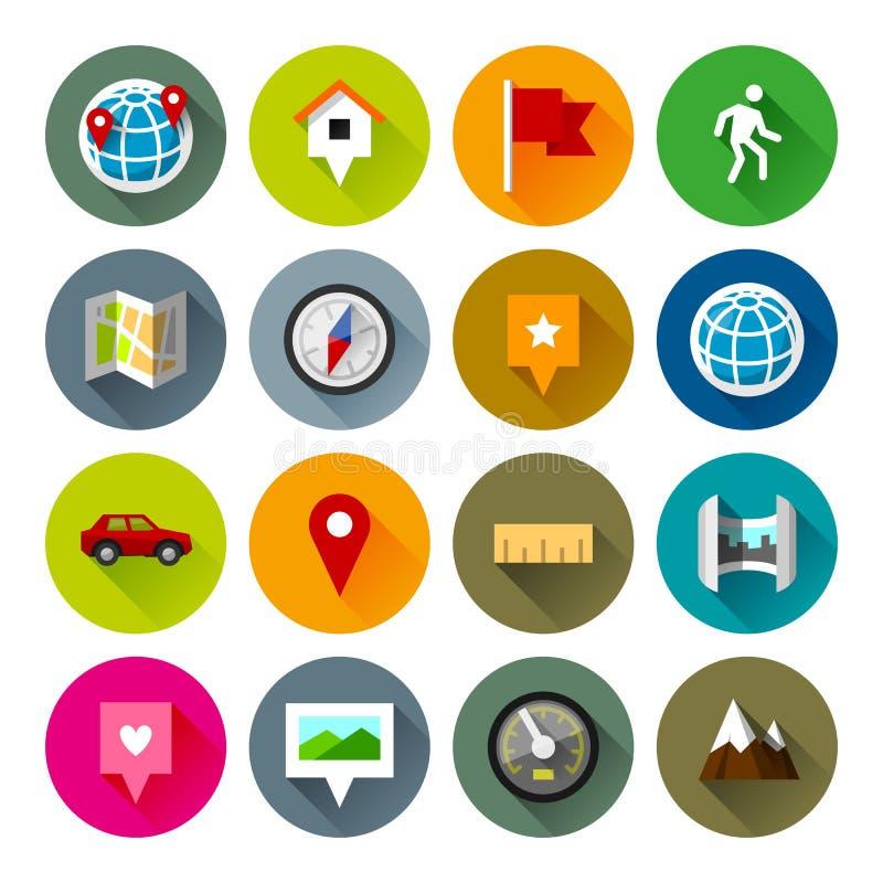 Mapy i nawigacj ikony – Fllate serie ilustracji