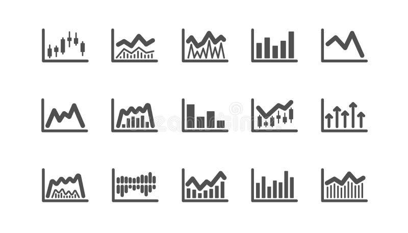 Mapy i wykres ikony Candlestick wykres, Infochart i Raportowy diagram, Klasyczny ikona set wektor royalty ilustracja