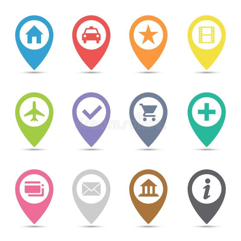 Mapy ikony wałkowy set royalty ilustracja