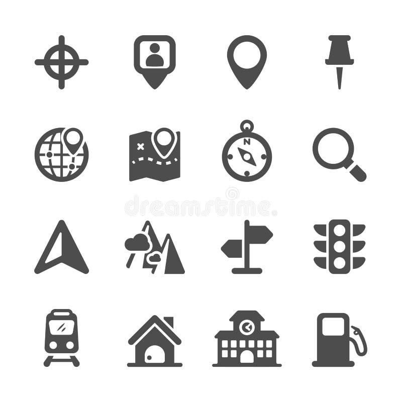 Mapy lokaci ikony set, wektor eps10 ilustracja wektor