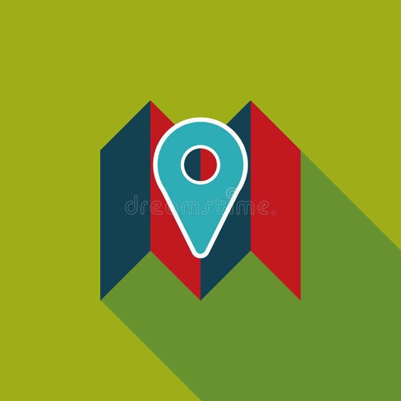 Mapy lokaci płaska ikona z długim cieniem royalty ilustracja