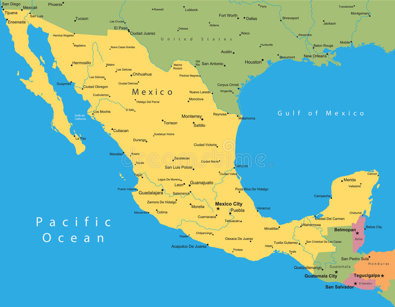 mapy Mexico wektor ilustracja wektor