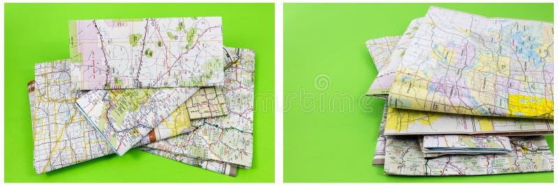 Mapy miejsca przeznaczenia stosu zieleni tło fotografia stock