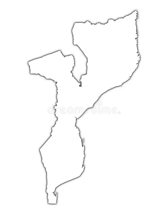 Mapy Mozambique Zarys Obraz Royalty Free