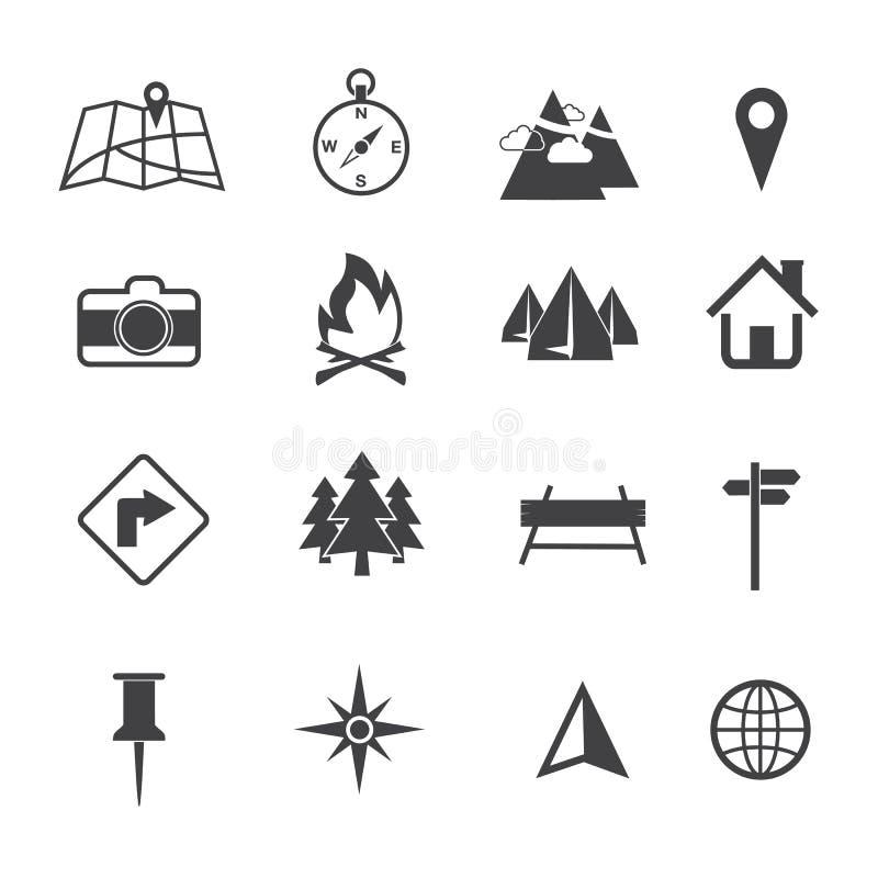Mapy, nawigaci i lokaci ikony ustawiać, ilustracja wektor