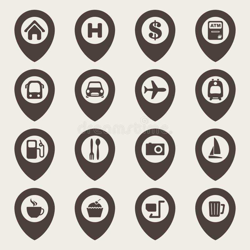 Mapy nawigaci ikony set