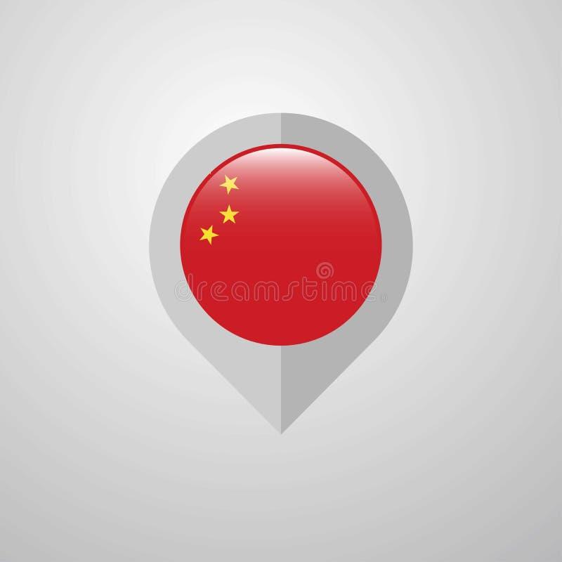 Mapy nawigacji pointer z Chiny flagi projekta wektorem ilustracja wektor