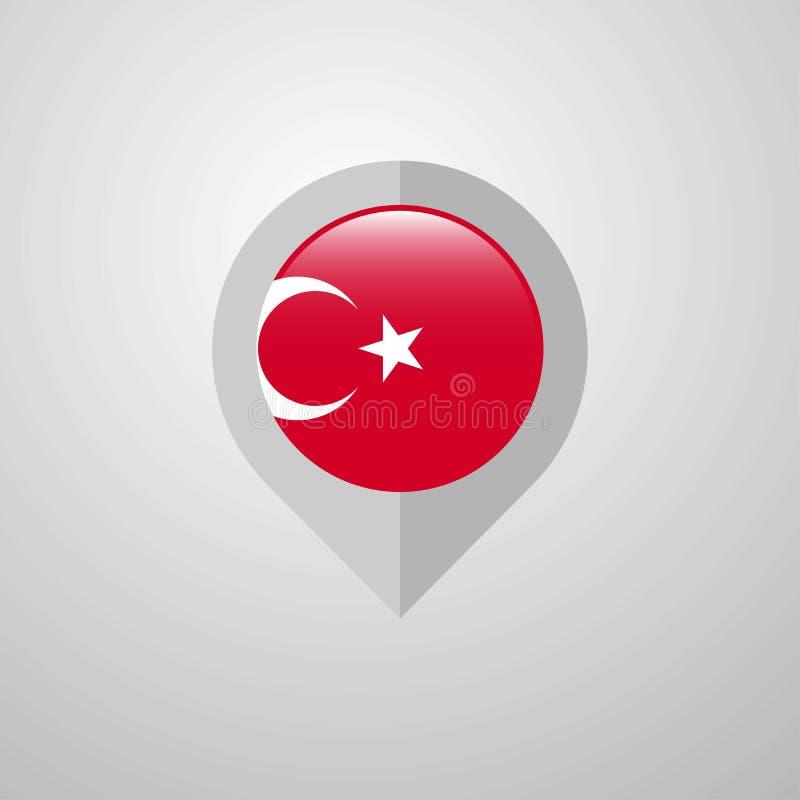 Mapy nawigacji pointer z Turcja flagi projekta wektorem royalty ilustracja