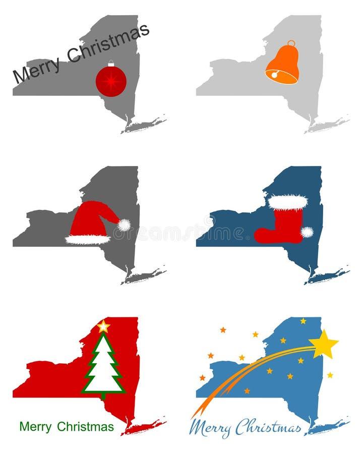 Mapy Nowy Jork z Bożenarodzeniowymi symbolami ilustracja wektor