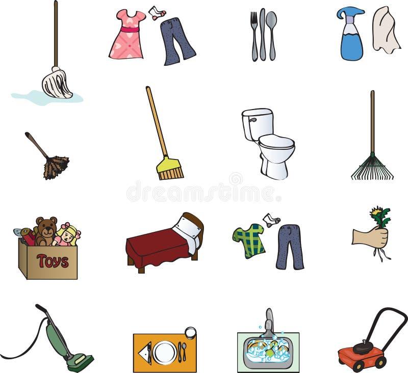 mapy obowiązki domowe ikony ilustracji
