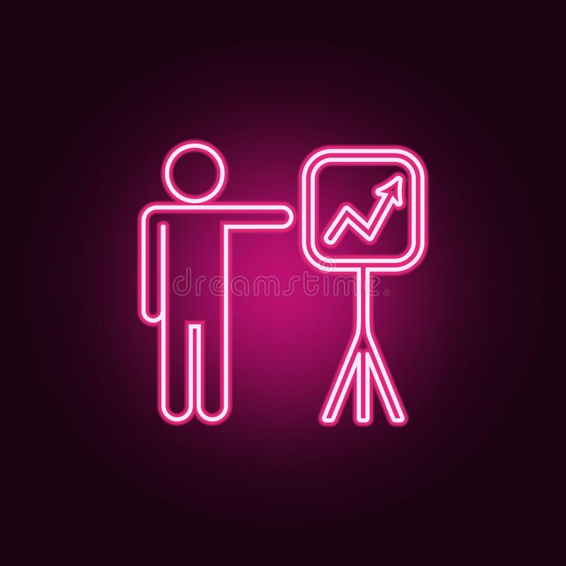 Mapy prezentaci ikona Elementy rozmowa i przyja?? w neonowych stylowych ikonach Prosta ikona dla stron internetowych, sie? projek ilustracji