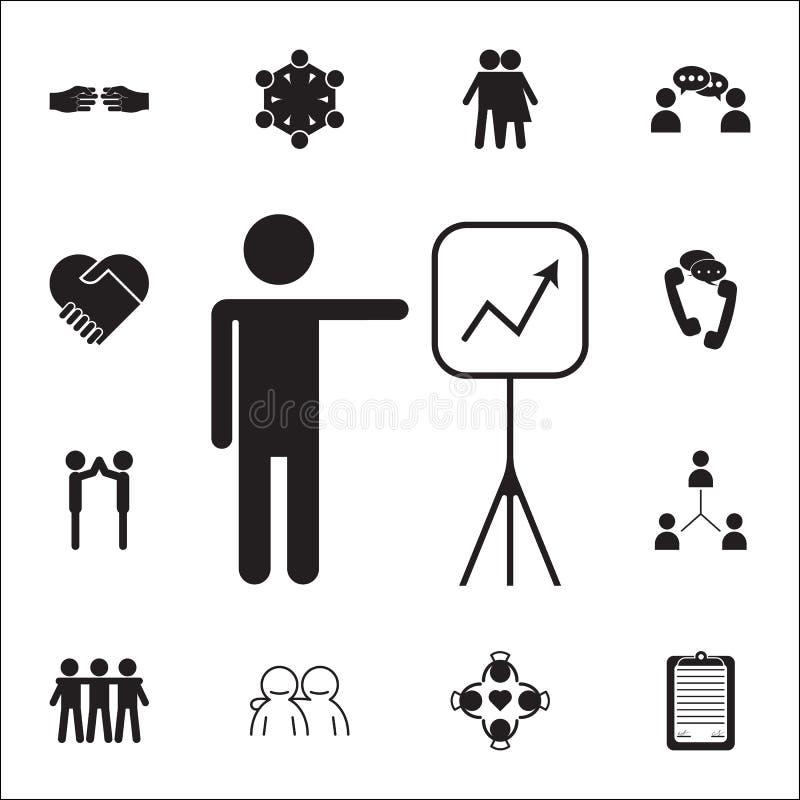 Mapy prezentaci ikona Rozmowy i przyjaźni ikon ogólnoludzki ustawiający dla ilustracji