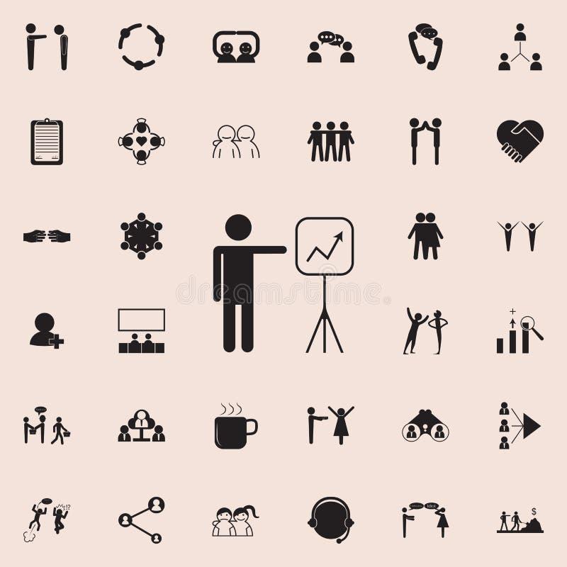 Mapy prezentaci ikona Szczegółowy set rozmowy i przyjaźni ikony Premii ilości graficznego projekta znak Jeden collec ilustracja wektor