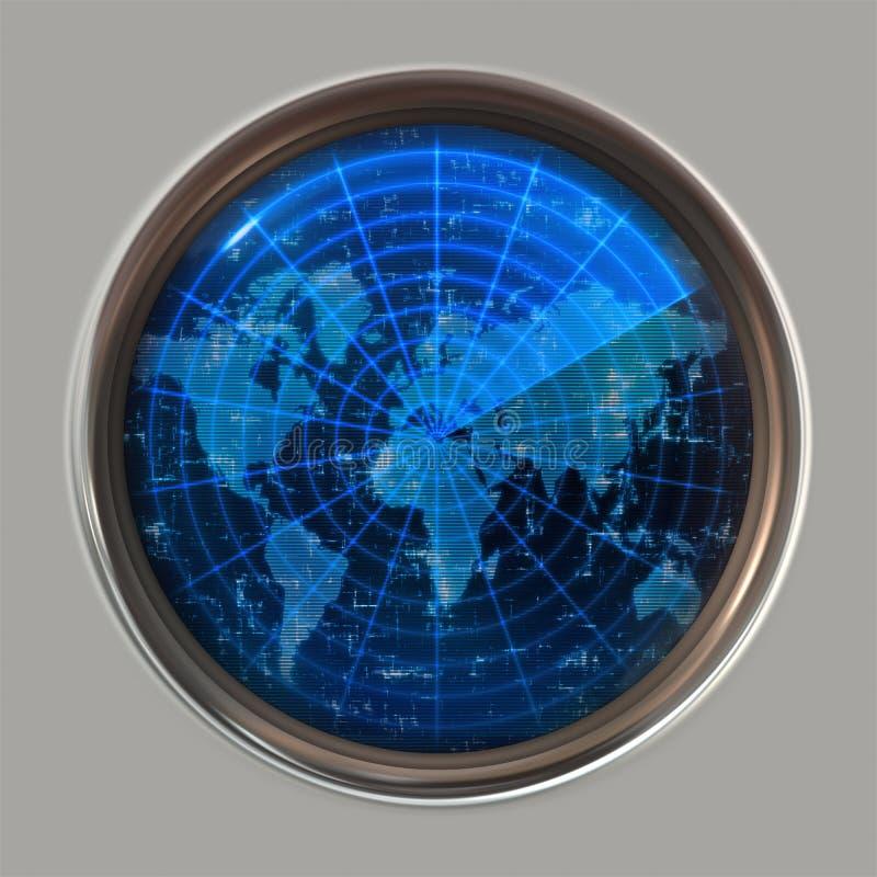 mapy radarowy sonaru świat royalty ilustracja
