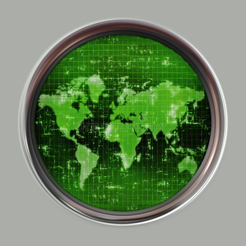 mapy radarowy sonaru świat ilustracji