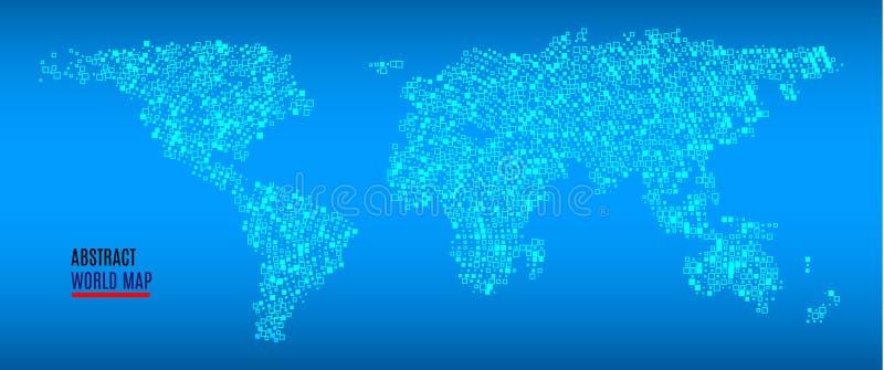 mapy styl świat technologii Abstrakcjonistyczna Światowa mapa z kwadratowymi kształtami Podróż wektoru ilustracja royalty ilustracja