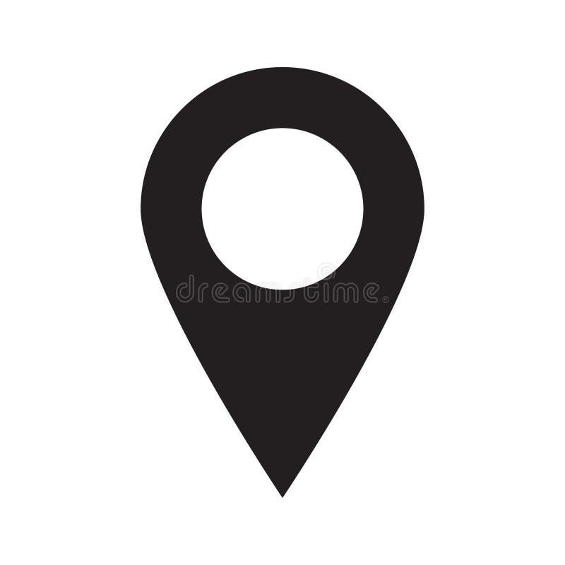 Mapy szpilka Lokaci mapy ikona Lokaci szpilka Wałkowy ikona wektor obrazy stock