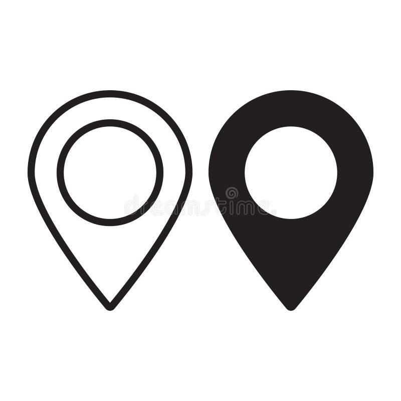 Mapy szpilka Lokaci mapy ikona Lokaci szpilka Wałkowy ikona wektor royalty ilustracja