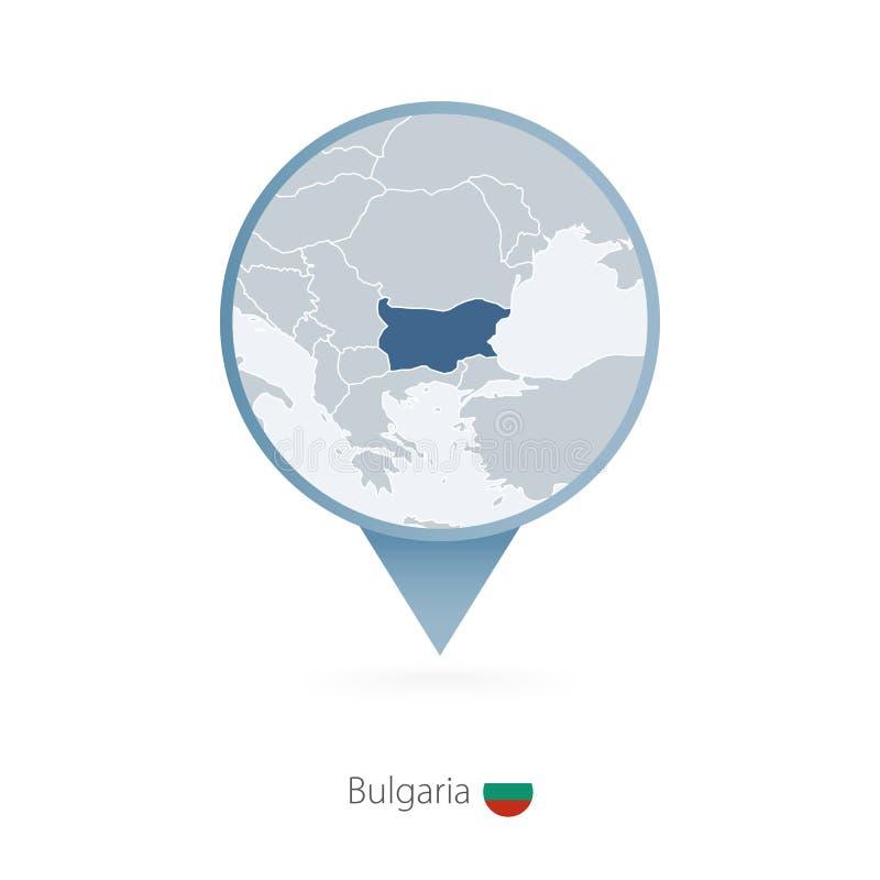 Mapy szpilka z szczegółową mapą Bułgaria i okoliczni kraje ilustracja wektor
