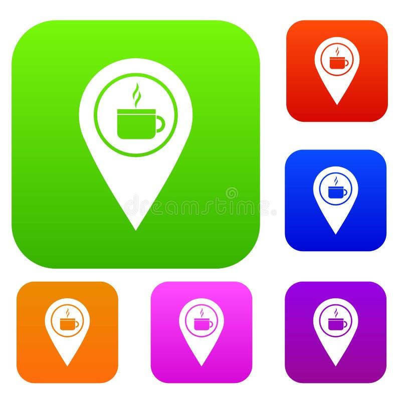 Mapy wałkowa lokacja z herbaty lub filiżanki znaka koloru ustaloną kolekcją ilustracja wektor