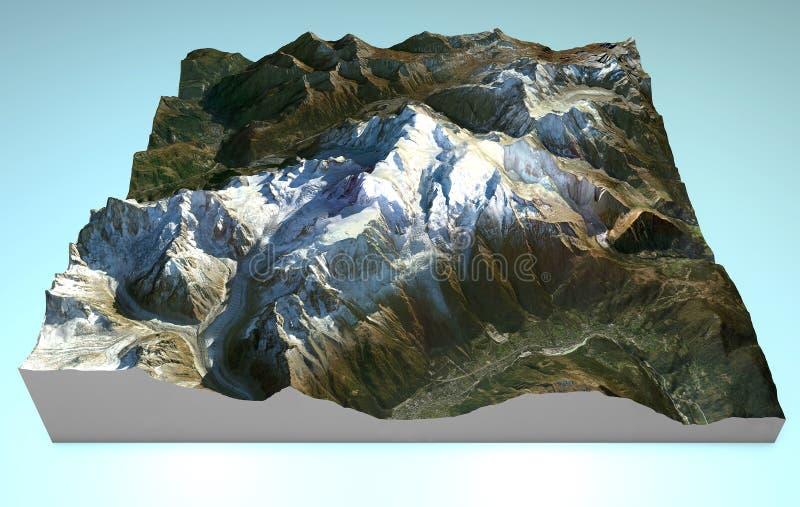 Mapy widok z lotu ptaka Mont Blanc royalty ilustracja