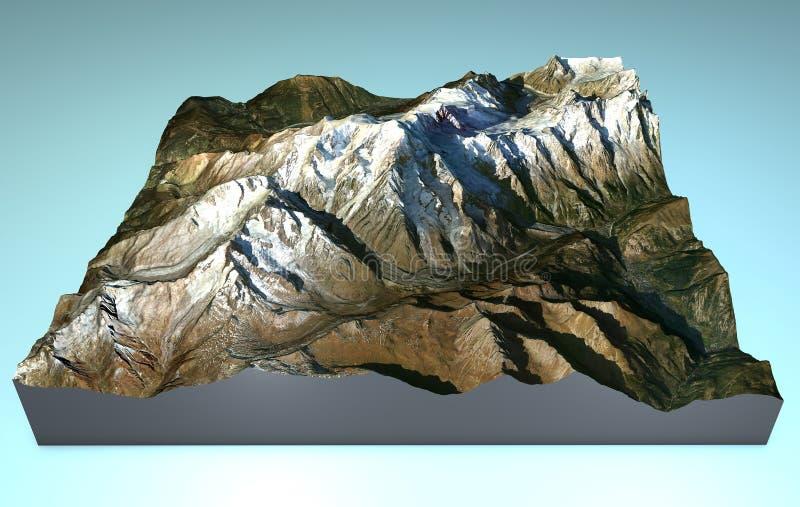 Mapy widok z lotu ptaka Mont Blanc ilustracja wektor