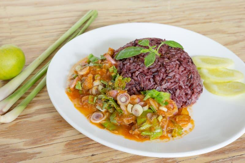 Maquereau de salade en sauce tomate avec du riz cuit de jasmin image libre de droits