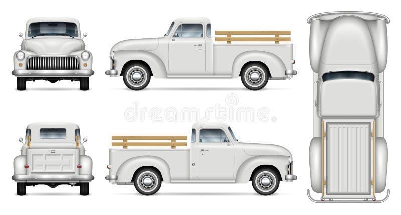 Maqueta blanca clásica del vector de la camioneta pickup stock de ilustración
