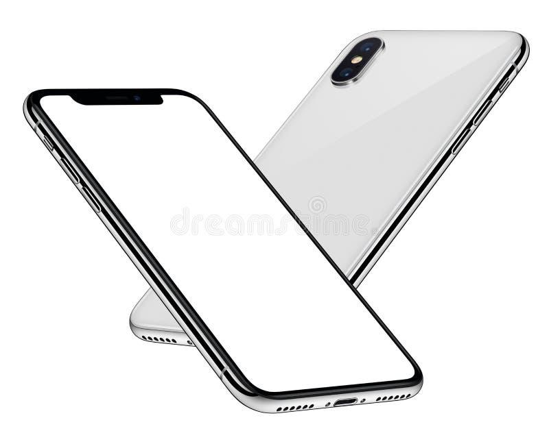 Maqueta blanca de los smartphones que se eleva en el lado del aire detrás detrás de la parte delantera con la pantalla blanca ilustración del vector