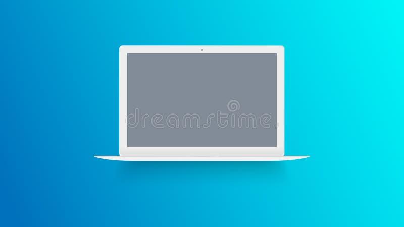 Maqueta blanca del ordenador portátil en fondo del color Macbook con la pantalla en blanco Vista delantera del cuaderno abierto V stock de ilustración