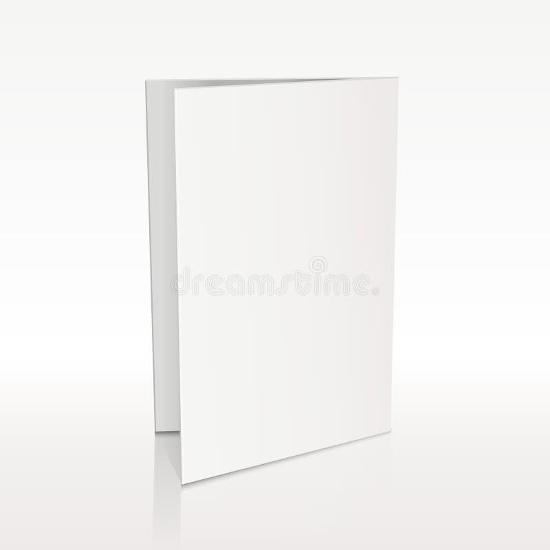 Maqueta blanca del vector 3D del prospecto de la carpeta en blanco ilustración del vector