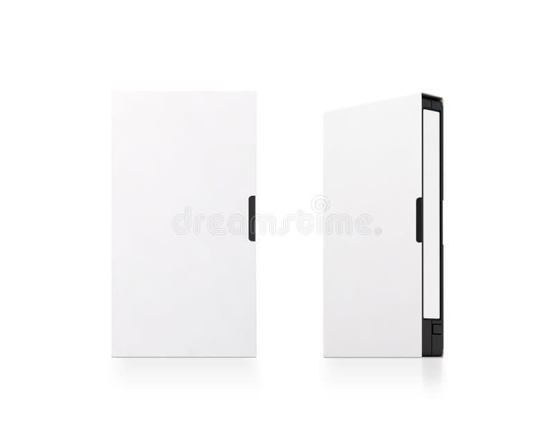 Maqueta blanca en blanco de la caja de la cinta de cinta de video, aislada, trayectoria de recortes imagen de archivo