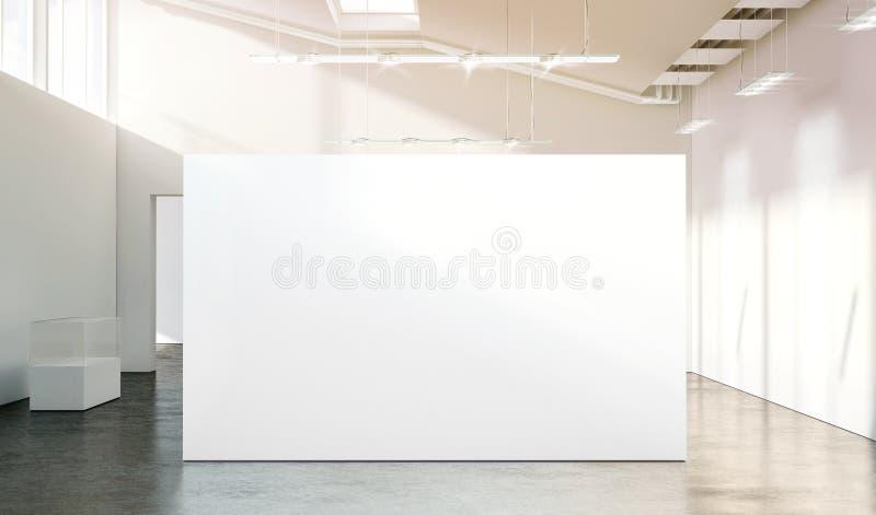 Maqueta blanca en blanco de la pared en galería vacía moderna soleada ilustración del vector