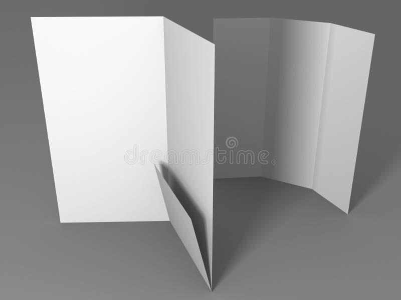 Maqueta blanca en blanco de la plantilla del folleto de la carpeta ilustración del vector