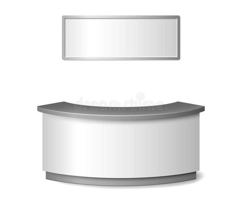 Maqueta blanca en blanco de la recepción Ejemplo contrario redondo del mostrador o de la exposición de información aislado en el  ilustración del vector