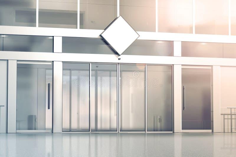 Maqueta blanca en blanco de la señalización del Rhombus en la tienda stock de ilustración