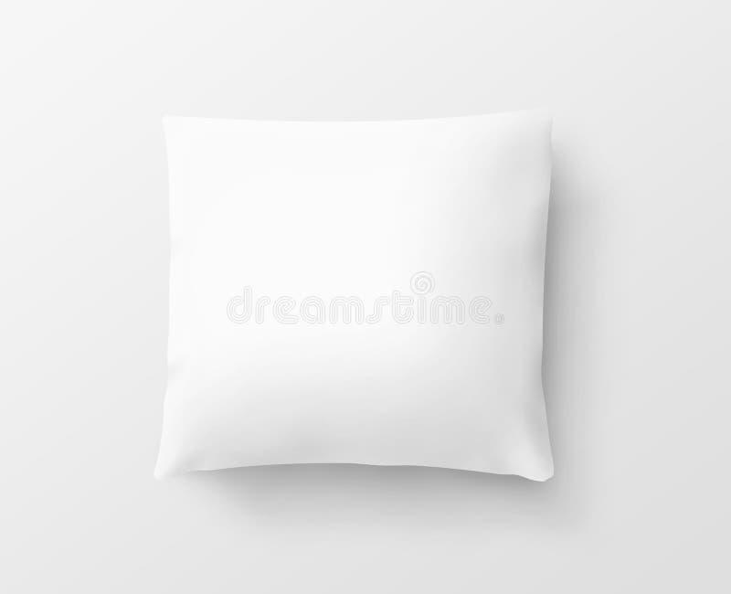 Maqueta blanca en blanco del diseño de la caja de la almohada, trayectoria de recortes, ejemplo 3d imagen de archivo