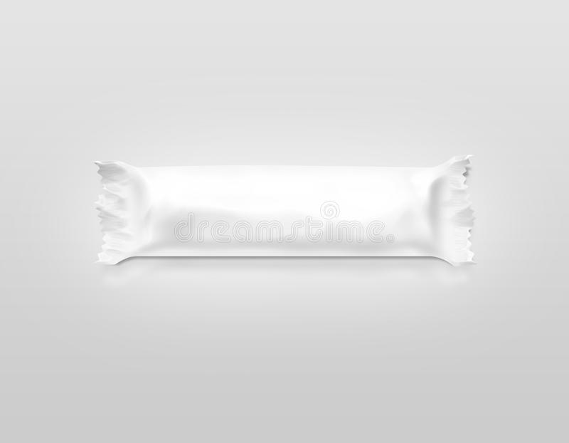 Maqueta blanca en blanco del envoltorio de plástico de la barra de caramelo fotografía de archivo