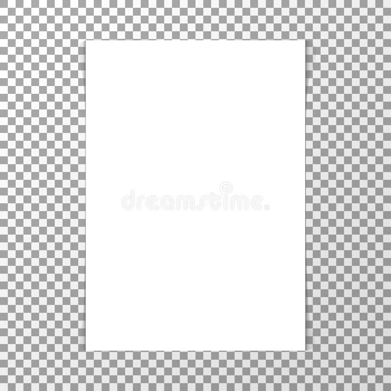 Maqueta blanca realista de la hoja de papel del espacio en blanco stock de ilustración