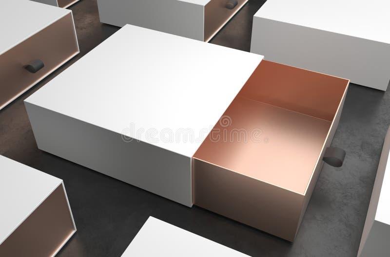 Maqueta blanca y del oro abierta elegante de regalo de la caja en fondo negro Caja de empaquetado de lujo para los productos supe libre illustration