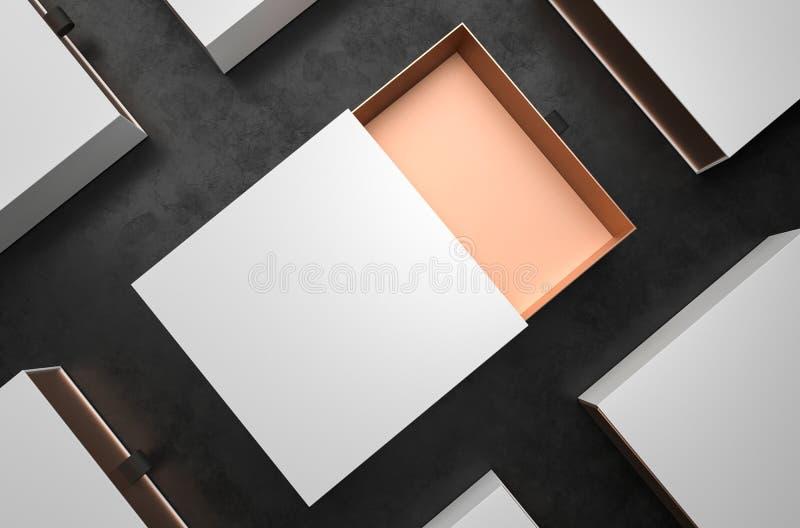 Maqueta blanca y del oro abierta elegante de regalo de la caja en fondo negro Caja de empaquetado de lujo para los productos supe ilustración del vector